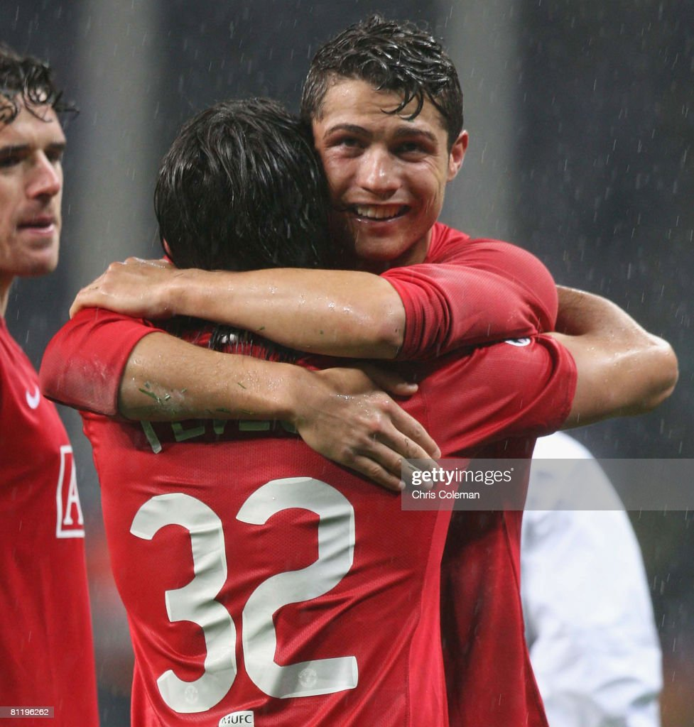 Carlos Tevez and Cristiano Ronaldo of Manchester United celebrate after winning the UEFA Champions League Final match between Manchester United and Chelsea at Luzhniki Stadium on May 21 2008 in Moscow, Russia.