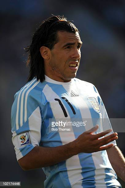 Carlos Tevez of Argentina during the 2010 FIFA World Cup South Africa Group B match between Argentina and South Korea at Soccer City Stadium on June...