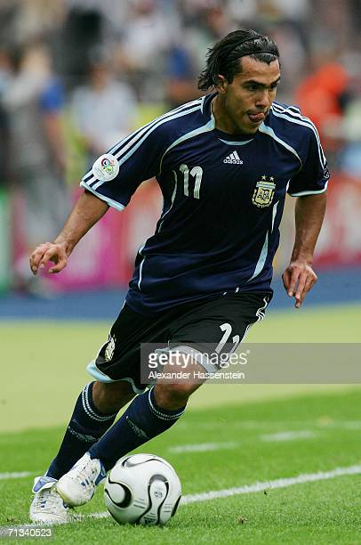 Carlos Tevez of Argentina in action during the FIFA World Cup Germany 2006 Quarterfinal match between Germany and Argentina played at the Olympic...