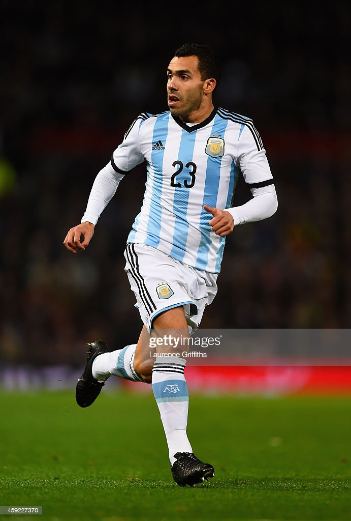 Carlos Tevez of Argentina in action during the International Friendly match between Argentina and Portugal at Old Trafford on November 18 2014 in...
