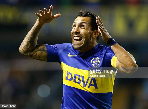 Carlos Tevez of Boca Juniors celebrates after scoring the fourth goal of his team during a match between Boca Juniors and Deportivo Cali as part of...