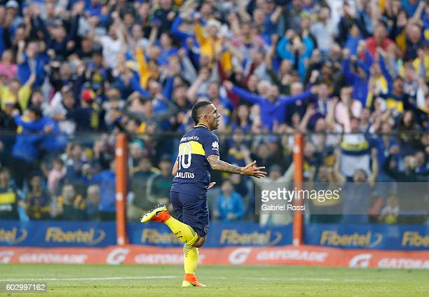 Carlos Tevez of Boca Juniors celebrates after scoring the opening goal during a match between Boca Juniors and Belgrano as part of second round of...