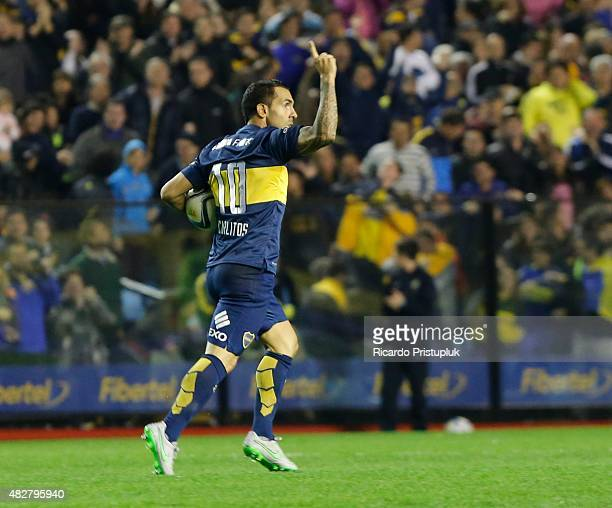 Carlos Tevez of Boca Juniors celebrates after scoring the second goal of his team between Boca Juniors and Union Santa Fe as part of 19th round of...