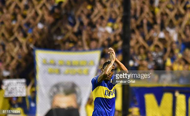 Carlos Tevez of Boca Juniors celebrates after scoring the second goal of his team during the 4th round match between Boca Juniors and Newell's Old...