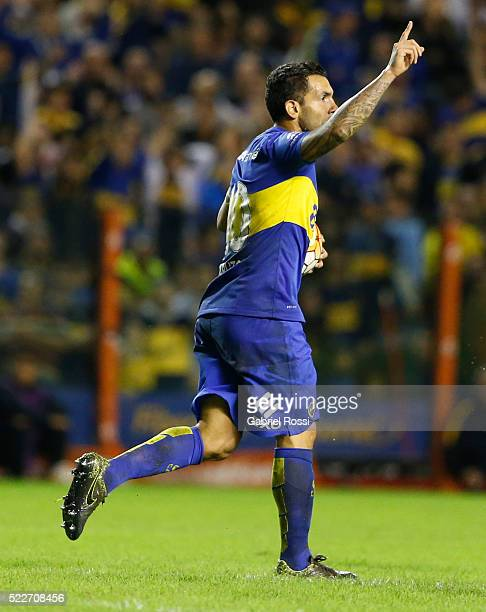 Carlos Tevez of Boca Juniors celebrates after scoring the second goal of his team during a match between Boca Juniors and Deportivo Cali as part of...