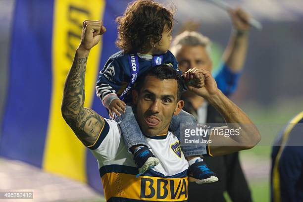 Carlos Tevez of Boca Juniors celebrates after winning the local soccer tournament after a match between Boca Juniors and Tigre as part of 29th round...
