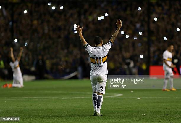 Carlos Tevez of Boca Juniors celebrates at the end of a match between Boca Juniors and Tigre as part of 29th round of Torneo Primera Division 2015 at...