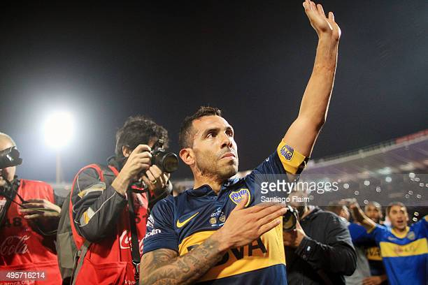 Carlos Tevez of Boca Juniors greets the fans after winning a final match between Boca Juniors and Rosario Central as part of Copa Argentina 2015 at...