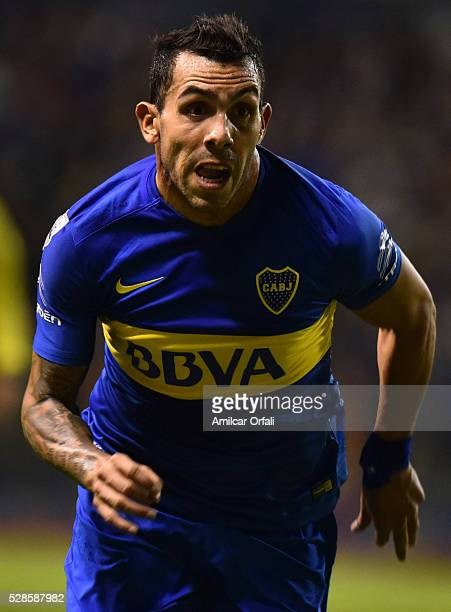 Carlos Tevez of Boca Juniors in action during a second leg match between Boca Juniors and Cerro Porteno as part of round of sixteen of Copa...
