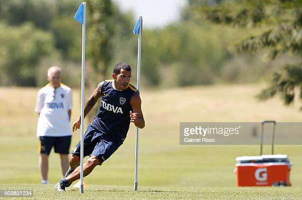 Carlos Tevez of Boca Juniors in action during Boca Juniors Training Session at Sofitel Cardales Hotel on January 07 2016 in Los Cardales Argentina