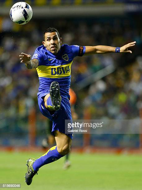 Carlos Tevez of Boca Juniors kicks the ball during a match between Boca Juniors and Union as part of Torneo de Transicion 2016 at Alberto Jose...