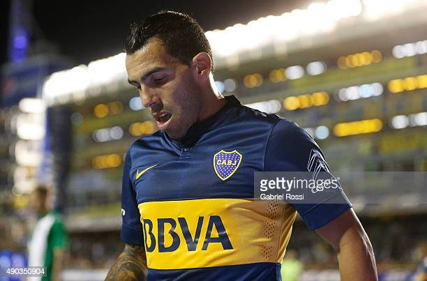 Carlos Tevez of Boca Juniors looks on during a match between Boca Juniors and Banfield as part of 26th round of Torneo Primera Division 2015 at...