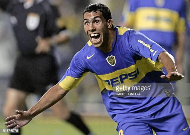 Carlos Tevez of Boca Juniors of Argentina celebrates after scoring the second goal for his team against Bolivar de La Paz Bolivia during their final...