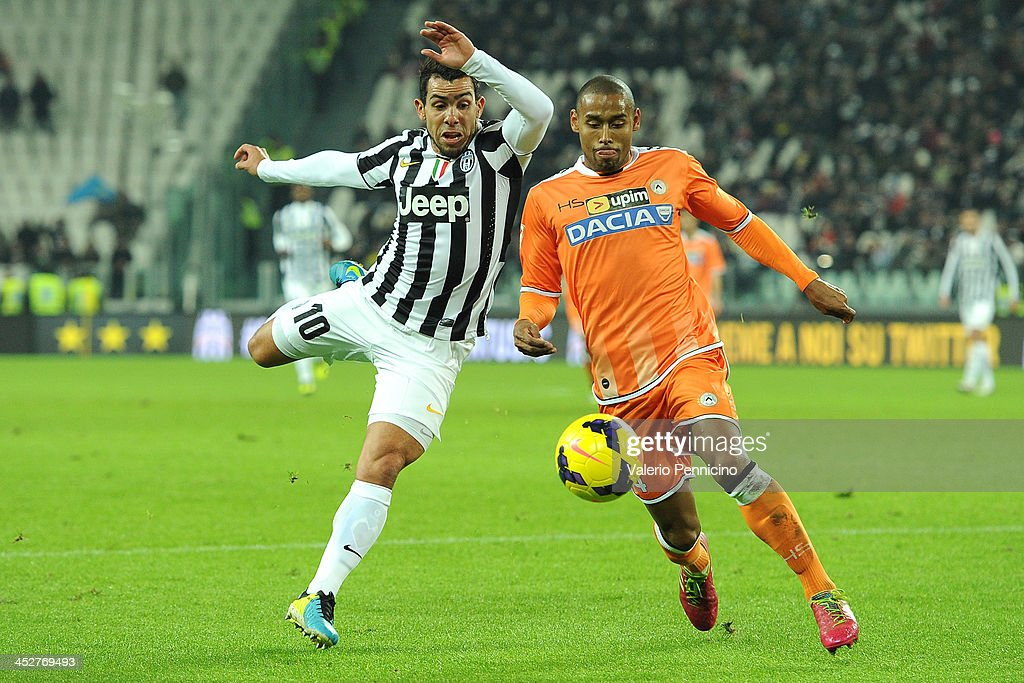 <a gi-track='captionPersonalityLinkClicked' href=/galleries/search?phrase=Carlos+Tevez&family=editorial&specificpeople=220555 ng-click='$event.stopPropagation()'>Carlos Tevez</a> (L) of Juventus competes with Allan Marques of Udinese Calcio during the Serie A match between Juventus and Udinese Calcio at Juventus Arena on December 1, 2013 in Turin, Italy.