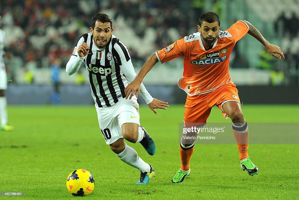 <a gi-track='captionPersonalityLinkClicked' href=/galleries/search?phrase=Carlos+Tevez&family=editorial&specificpeople=220555 ng-click='$event.stopPropagation()'>Carlos Tevez</a> (L) of Juventus competes with Danilo Larangeira of Udinese Calcio during the Serie A match between Juventus and Udinese Calcio at Juventus Arena on December 1, 2013 in Turin, Italy.