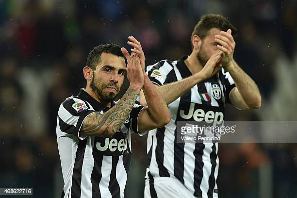 Carlos Tevez of Juventus FC celebrates victory at the end of the Serie A match between Juventus FC and Empoli FC at Juventus Arena on April 4 2015 in...