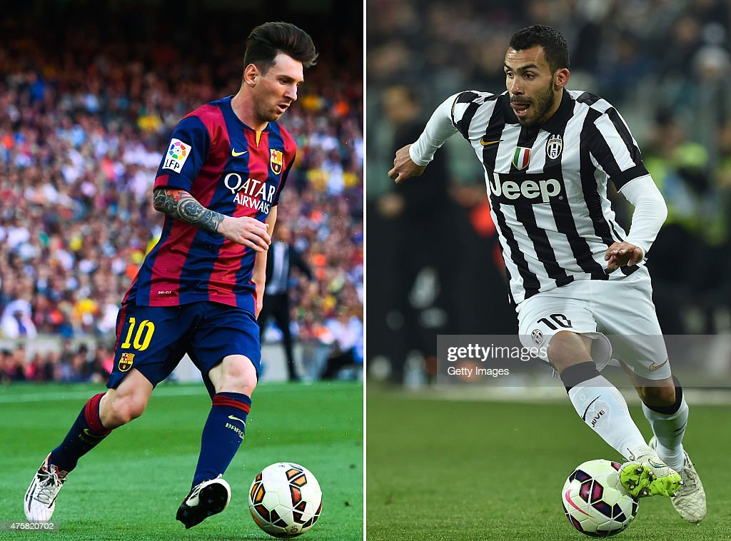 (FILE PHOTO - Image Numbers 472965042 (L) and 466474138) In this composite image a comparison has been made between <a gi-track='captionPersonalityLinkClicked' href=/galleries/search?phrase=Lionel+Messi&family=editorial&specificpeople=453305 ng-click='$event.stopPropagation()'>Lionel Messi</a> of FC Barcelona (L) and <a gi-track='captionPersonalityLinkClicked' href=/galleries/search?phrase=Carlos+Tevez&family=editorial&specificpeople=220555 ng-click='$event.stopPropagation()'>Carlos Tevez</a> of Juventus FC. Juventus and FC Barcelona meet each other in the UEFA Champions League Final at the Olympiastadion Stadium on June 6, 2015 in Berlin,Germany. TURIN, ITALY - MARCH 09: <a gi-track='captionPersonalityLinkClicked' href=/galleries/search?phrase=Carlos+Tevez&family=editorial&specificpeople=220555 ng-click='$event.stopPropagation()'>Carlos Tevez</a> of Juventus FC in action during the Serie A match between Juventus FC and US Sassuolo Calcio at Juventus Arena on March 9, 2015 in Turin, Italy.
