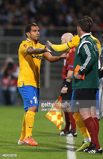 Carlos Tevez of Juventus Turin is replaced during the UEFA Europa League quarter final match between Olympique Lyonnais OL and Juventus Turin at...