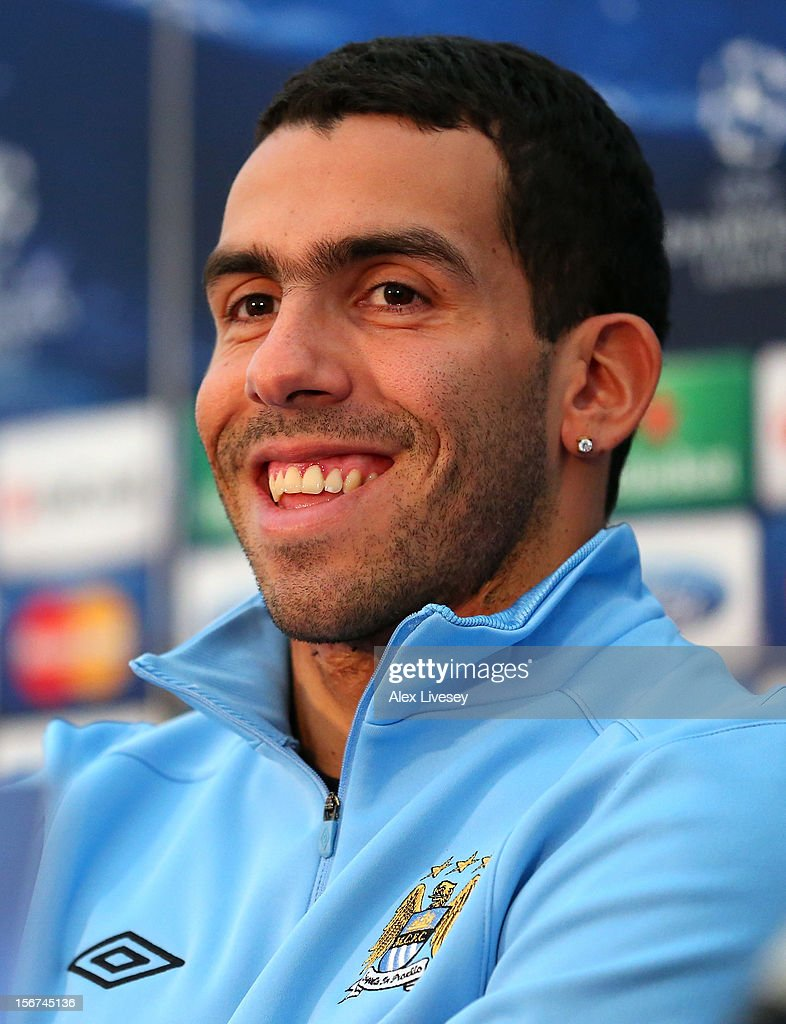 Carlos Tevez of Manchester City faces the media during a press conference at Carrington Training Ground on November 20, 2012 in Manchester, England.