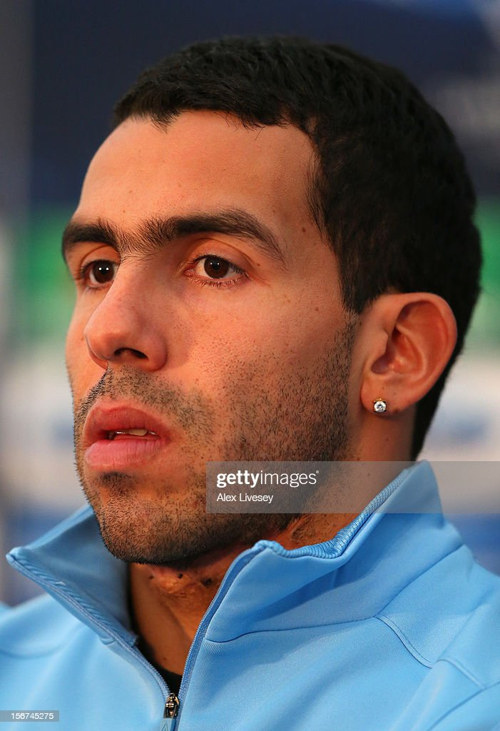 <a gi-track='captionPersonalityLinkClicked' href=/galleries/search?phrase=Carlos+Tevez&family=editorial&specificpeople=220555 ng-click='$event.stopPropagation()'>Carlos Tevez</a> of Manchester City faces the media during a press conference at Carrington Training Ground on November 20, 2012 in Manchester, England.