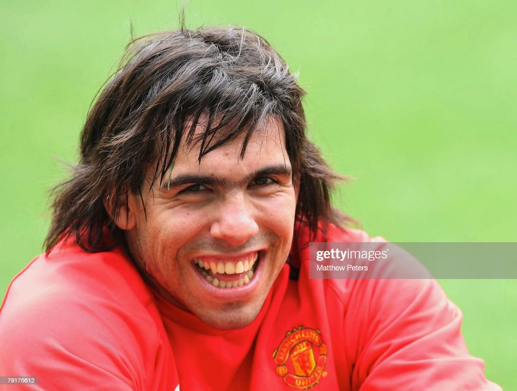 Carlos Tevez of Manchester United during a First Team Training Session at King Fahd Stadium on January 23 2008, in Riyadh, Saudi Arabia.