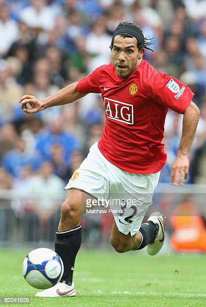 Carlos Tevez of Manchester United in action during the FA Community Shield match between Manchester United and Portsmouth at Wembley Stadium on...