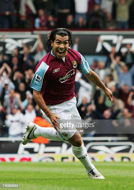 Carlos Tevez of West Ham United celebrates scoring during the Barclays Premiership match between West Ham United and Bolton Wanderers at Upton Park...