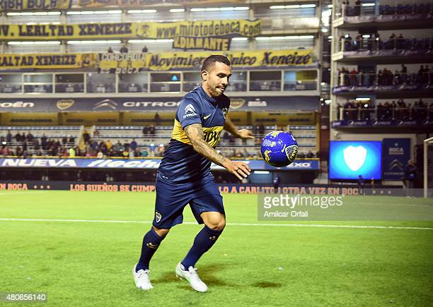 Carlos Tevez plays with the ball during his presentation as new player of Boca Juniors at Alberto J Armando Stadium on July 13 2015 in Buenos Aires...