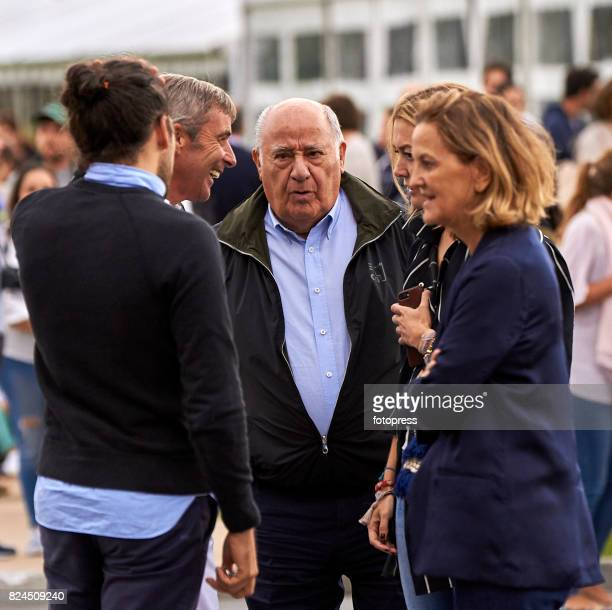 Carlos Torretta Amancio Ortega Marta Ortega and Flora Perez attend during CSI Casas Novas Horse Jumping Competition on July 30 2017 in A Coruna Spain
