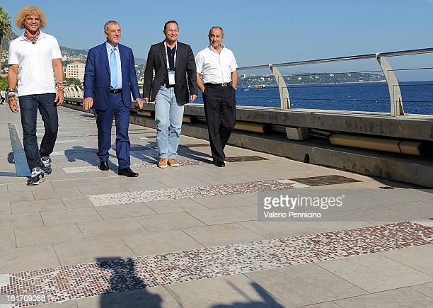 Carlos Valderrama Antonio Caliendo JeanPierre Papin and Osvaldo Ardiles visit the Champions Promenade at Grimaldi Forum on October 16 2013 in...