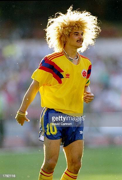 Carlos Valderrama of Colombia in action during a World Cup game against Cameroon in Italy Cameroon won the game 21 Mandatory Credit David Cannon...