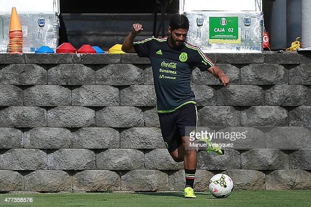 Carlos Vela controls the ball during a Mexico National Team training session prior the beginning of Gold Cup 2015 at CAR on June 16 2015 in Mexico...