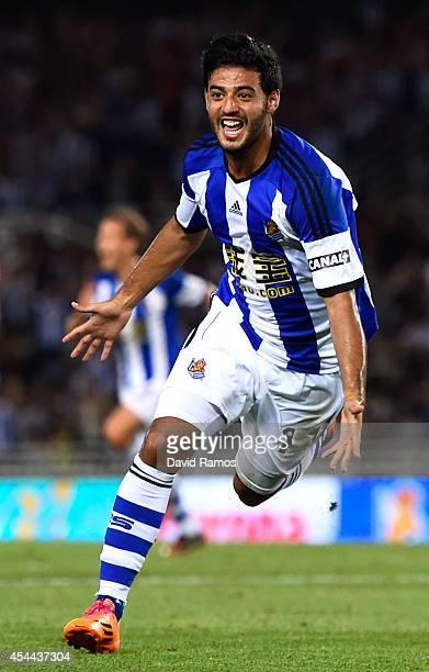 Carlos Vela Garrido of Real Sociedad celebrates after scoring his team's fourth goal during the La Liga match between Real Sociedad de Futbol and...