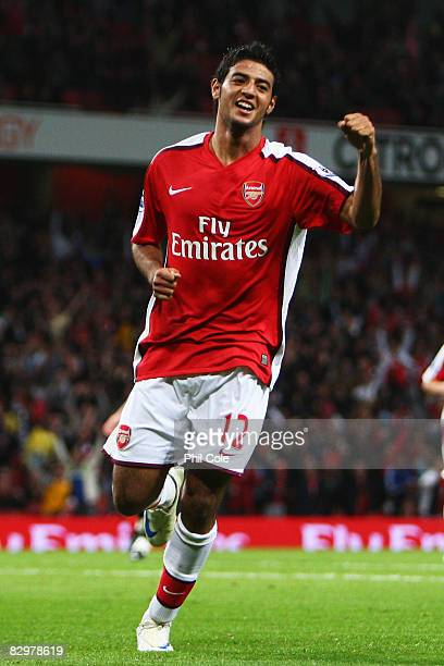 Carlos Vela of Arsenal celebrates scoring his third goal during the Carling Cup Third Round match between Arsenal and Sheffield United at the...