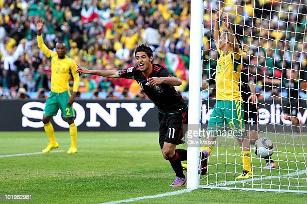 Carlos Vela of Mexico appeals to the linesman after his goal was ruled offside during the 2010 FIFA World Cup South Africa Group A match between...