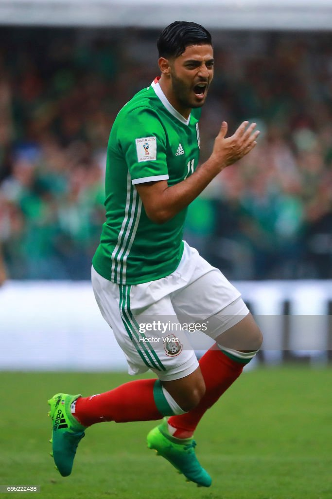 Carlos Vela of Mexico celebrates after scoring during the match between Mexico and The United States as part of the FIFA 2018 World Cup Qualifiers at Azteca Stadium on June 11, 2017 in Mexico City, Mexico.