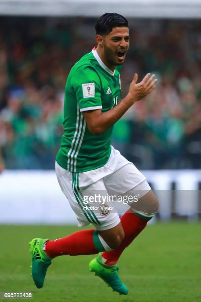 Carlos Vela of Mexico celebrates after scoring during the match between Mexico and The United States as part of the FIFA 2018 World Cup Qualifiers at...