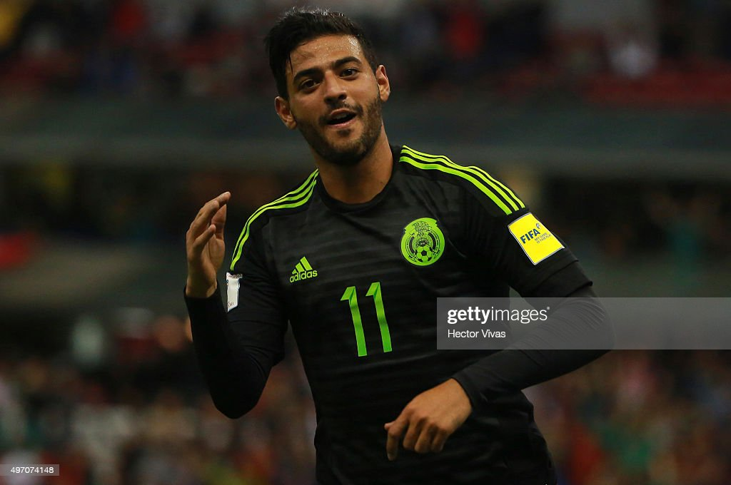 Carlos Vela of Mexico celebrates after scoring the third goal of his team during the match between Mexico and El Salvador as part of the 2018 FIFA World Cup Qualifiers at Azteca Stadium on November 13, 2015 in Mexico City, Mexico.