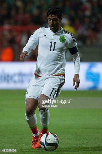 Carlos Vela of Mexico drives the ball during the International Friendly match between Mexico and Panama at Nemesio Diez Stadium on October 13 2015 in...