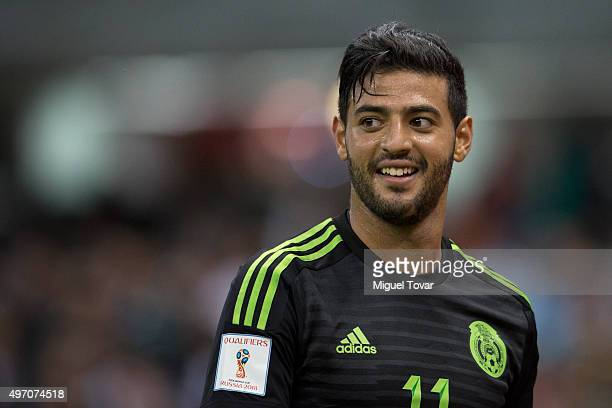 Carlos Vela of Mexico gestures during the match between Mexico and El Salvador as part of the 2018 FIFA World Cup Qualifiers at Azteca Stadium on...