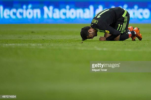 Carlos Vela of Mexico grimaces in pain after been fouled during the match between Mexico and El Salvador as part of the 2018 FIFA World Cup...