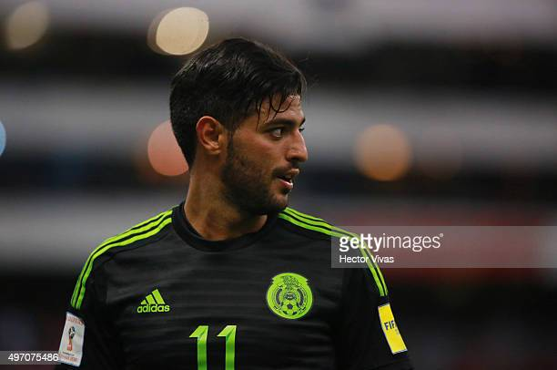 Carlos Vela of Mexico looks on during the match between Mexico and El Salvador as part of the 2018 FIFA World Cup Qualifiers at Azteca Stadium on...