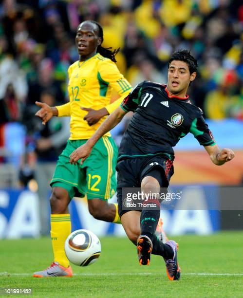 Carlos Vela of Mexico passes the ball during the 2010 FIFA World Cup South Africa Group A match between South Africa and Mexico at Soccer City...