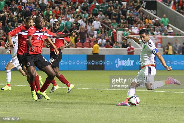 Carlos Vela of Mexico prepares a shot during a friendly match between Mexico and Trinidad and Tobago at Rio Tinto Stadium on September 04 2015 in...