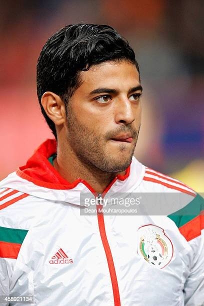 Carlos Vela of Mexico stands for the national anthems prior to the international friendly match between Netherlands and Mexico held at the Amsterdam...