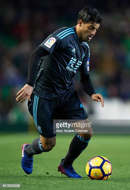Carlos Vela of Real Betis Balompie in action during La Liga match between Real Betis Balompie and Real Sociedad de Futbol at Benito Villamarin...