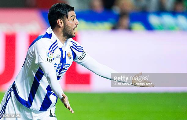 Carlos Vela of Real Sociedad de Futbol reacts during the La Liga match between Real Sporting de Gijon and Real Sociedad de Futbol at Estadio El...