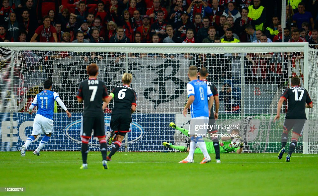 Carlos Vela of Real Sociedad has his penalty attempt saved by goalkeeper Bernd Leno of Leverkusen but scores with the rebound to level the scores at...