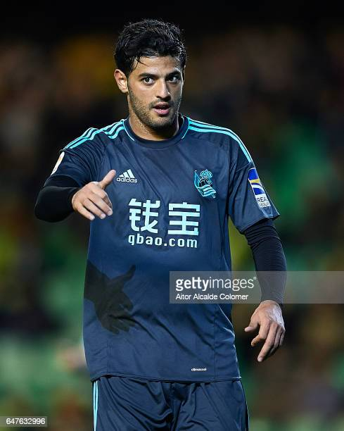 Carlos Vela of Real Sociedad looks on during La Liga match between Real Betis Balompie and Real Sociedad de Futbol at Benito Villamarin Stadium on...
