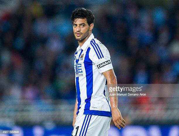 Carlos Vela of Real Sociedad reacts during the La Liga match between Real Sociedad de Futbol and Celta de Vigo de Futbol at Estadio Anoeta on October...